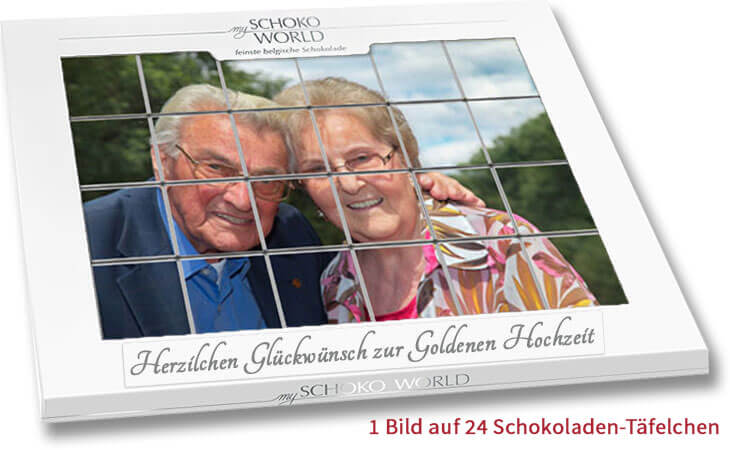 goldene hochzeit geschenk schokolade mit eigenen fotos personalisieren my schoko world. Black Bedroom Furniture Sets. Home Design Ideas